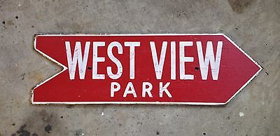 WEST VIEW PARK arrow wood sign PITTSBURGH amusement rides DIPS roller coaster