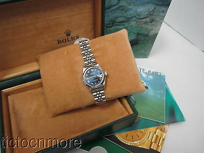 Rolex Oytser Ss Jubilee Blue Roman Dial Datejust Watch W/ Box Papers Lds 69174