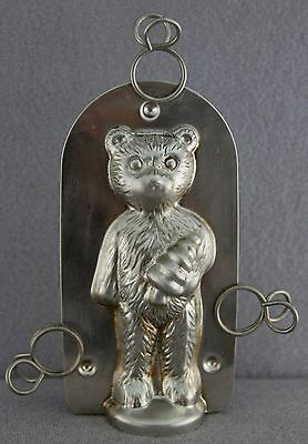 """Estate - Previously Used Tin Teddy 4.5"""" Bear With Christmas Tree Chocolate Mold"""