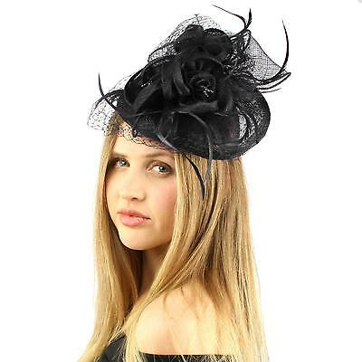 Fancy Sinamay Feather Trio Floral Fishnet Headband Fascinator Cocktail Hat Black
