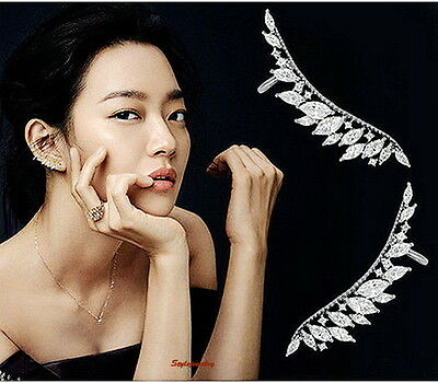 925 Silver Posts Feather Ear Cuff Earring Made With Swarovski Crystal IE109