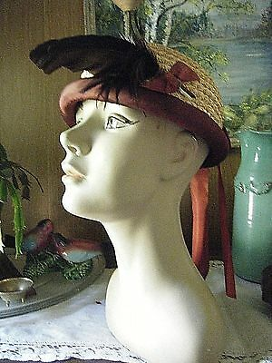 Vintage 1930's Darling Satin bow and Feather Trim Woven HAT