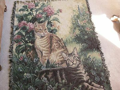 Tapestry Afghan Throw  CATS   6' By 4'    XLNT