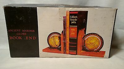 Bookends Wood Ancient Mariner Spinning Globe New in Box