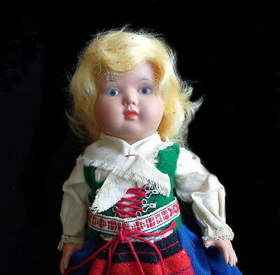"Vintage CELLULOID Swedish Costumed Doll  9.5"" Very Sweet Face SWEDEN"
