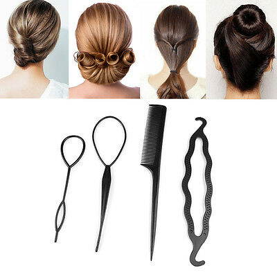 4 Pcs Hair Accessories Hair Twist Styling Clip Stick Bun Maker Braid Tool Comb