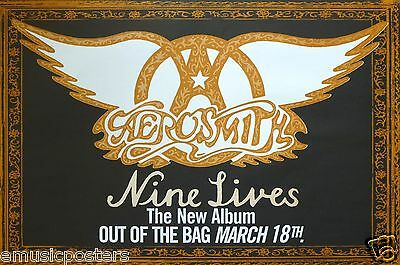 """AEROSMITH """"9 LIVES,OUT OF THE BAG MARCH 18"""" U.S. PROMO POSTER-Classic Rock Music"""