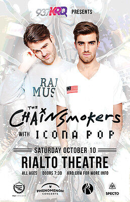 THE CHAINSMOKERS / ICONA POP 2015 TUCSON CONCERT TOUR POSTER - EDM, Dance Music