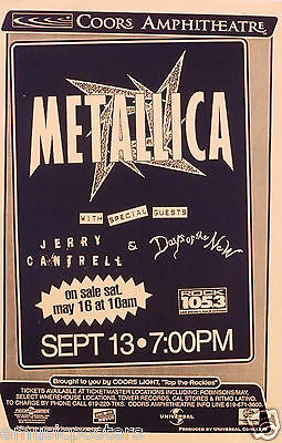 Metallica / Jerry Cantrell /  Days Of The New 1997 San Diego Concert Tour Poster