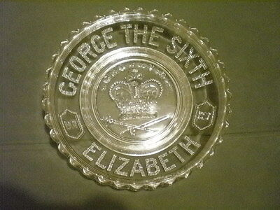 "George the Sixth 1937 Elizabeth 9.5"" Glass COMMEMORATIVE bowl CORONATION."