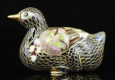 Collectible Old Handwork Cloisonne Painting Yuanyang Statue Wedding Gift Mascot