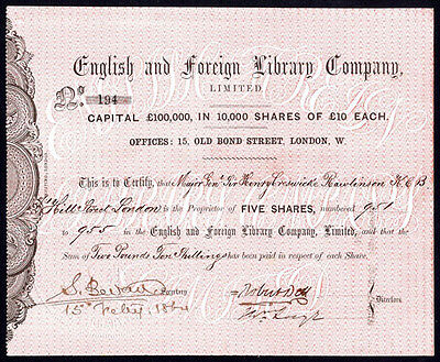 English and Foreign Library Co. Ltd., 5 £10 shares, 1864