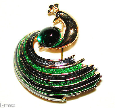 Vintage Crown Peacock Brooch Emerald Cab Swirl Enamel Green Blue Plumes Sphinx