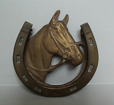Antique/Vintage Brass Equestrian Horse Shoe & Head Door Knocker