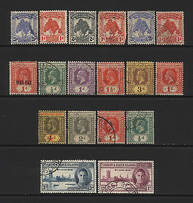 Gilbert & Ellice Collection 18 Early Stamps Used
