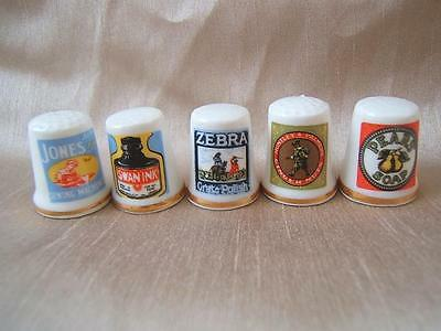 5 x china ADVERTISING THIMBLES from RYE East Sussex Pears soap Swan Ink Huntley