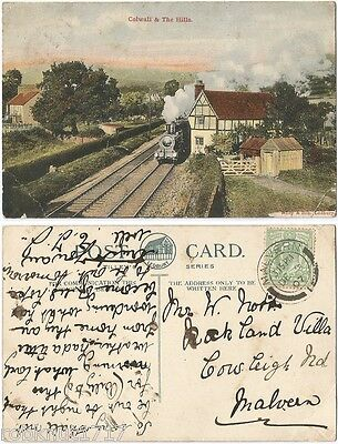 CPA 1907 postcard steam train COLWALL and The Malvern Hills Herefordshire 1127 R