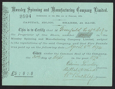 Mossley Spinning & Manufacturing Co. Ltd., £5 share, 1875