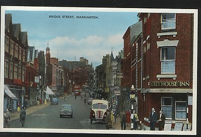 Postcard - View in Bridge Street, Warrington - unposted and in good condition.
