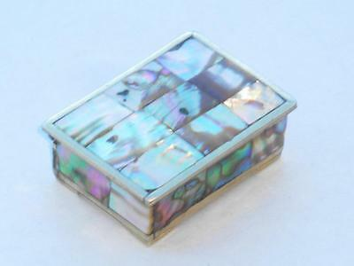 Superb Antique Vintage Mexican Alpaca Silver & Abalone Shell Trinket Box Signed