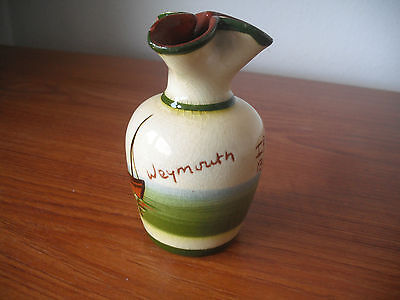 """Weymouth""(Torquay Mottoware) Bud Vase ""If ye cant be aisy be as aisy as ye can"""