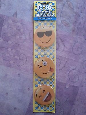 3 Assorted Emoji Face Icons Car/home/wardrobe Hanging Air Freshener Ocean