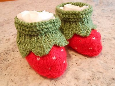 Babies Handknitted Strawberry Booties - 0 to 3 months