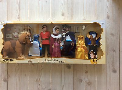 Disney Store Beauty And The Beast Deluxe Doll Set Belle Beast Philippe Lumiere