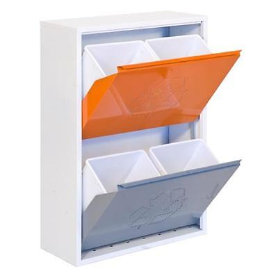 Simonrack Recycle Bin 4 Buckets, White Orange Grey