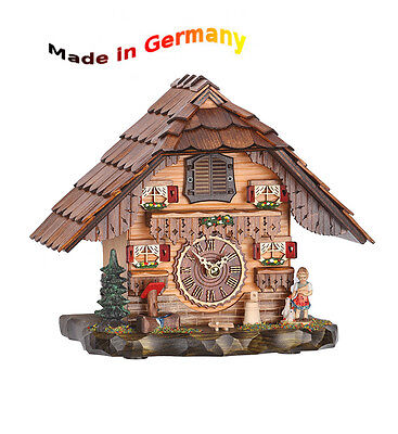 Quartz Cuckoo Clock Classic, Black Forest, Wood Dial, Made in Germany
