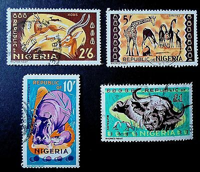 Nigeria 1965 - 66 QE II Four Top Value Definitives 2/6d, 5/-, 10/- & £1 FineUsed