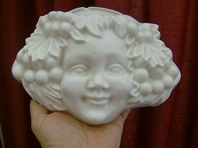 Lovely CHERUB Angel face Wall Pocket adorned with fruit ideal wall decor pretty