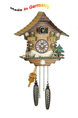 Quartz Cuckoo Clock, Black Forest, Night-Time Shut-Off Wood Dial Made in Germany