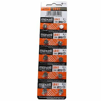 10 MAXELL AG3 SR41 192 LR41 392 1.5V Alkaline Battery Button Cell Expire 2019