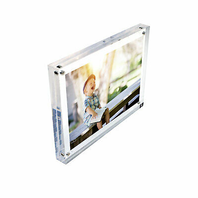 Freestanding Polished Clear Acrylic Magnetic Photo Frame in 8 Sizes (DSTF+)