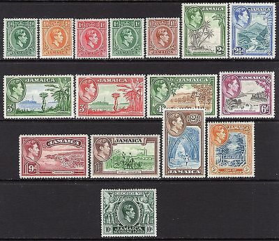 Jamaica KGV1  1938-52 Set to 10s SG121-33 (missing 3d SG126b) M/Mint Cat £113
