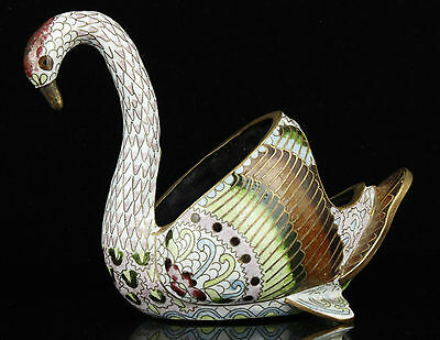 Collectible Old Handwork Painting Carved Copper Cloisonne Swan Statue Decoration