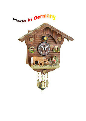 Black Forest Cuckoo Pendulum Clock, Cuckoo, Handpainted, Made in Germany