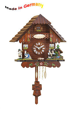 Black Forest Cuckoo Pendulum Clock, Cuckoo, Handpainted Made in Germany Gift