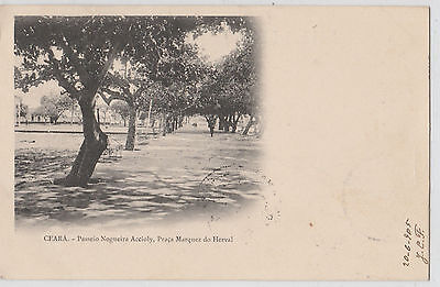 CEARÁ, Nogueira Accioly Sidewalk in Marquez do Herval Square old BRAZIL Postcard