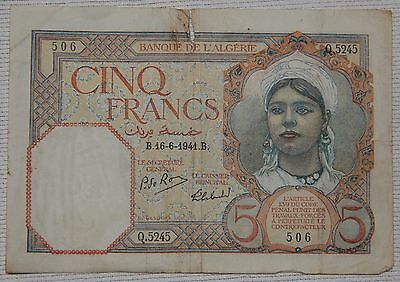 Vintage Wwii 1941 Bank Of Algeria 5 Francs Note, Paper Money