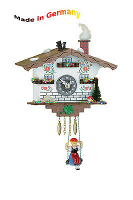 Miniature Rocking Clock with Chimney Sweep, Made in Germany, Black Forest,