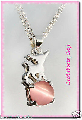 Beautiful Chihuahua Necklace, Silver Plated With Rose Quartz Stone.