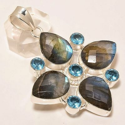 Exclusive Labradorite With Blue Topaz Gemstone .925 Silver Pendant 2.1""