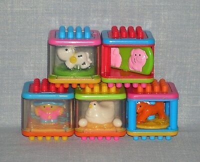 Fisher Price Bristle Peek A Blocks Chicken Pig Horse Cow Farm Animals + Toy Lot