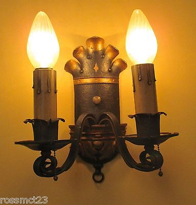 Vintage Lighting matched pair 1920s Spanish Revival sconces by Ironcraft