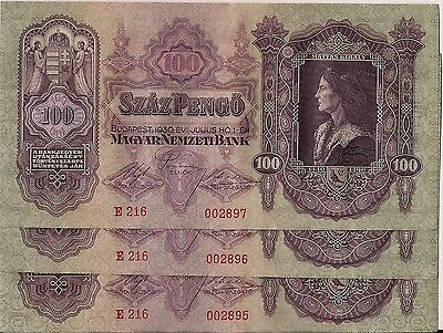 "HUNGARY=1930   SET of 3 CONSECUTIVE  N""  P-98   UNC"