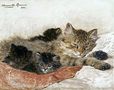 RONNER KNIP Art Print Feline Study MOTHER CAT & SLEEPING KITTENS