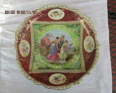 Porcelain Plate with Cupid and Three Women (German Antique)