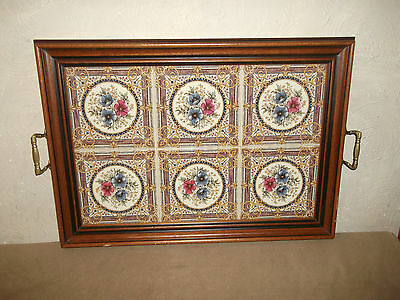 Large Floral Tiled Wooden Tray